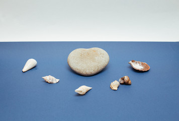 stone in the form of heart and shells