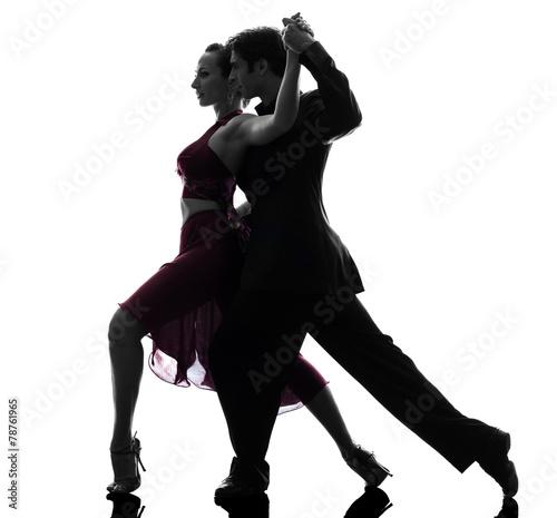 couple man woman ballroom dancers tangoing  silhouette Plakát