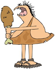 Caveman eating a large drumstick