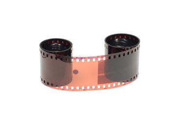 roll of color film on a white background
