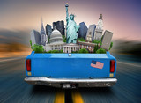Fototapety USA, attractions USA in the trunk of a moving car