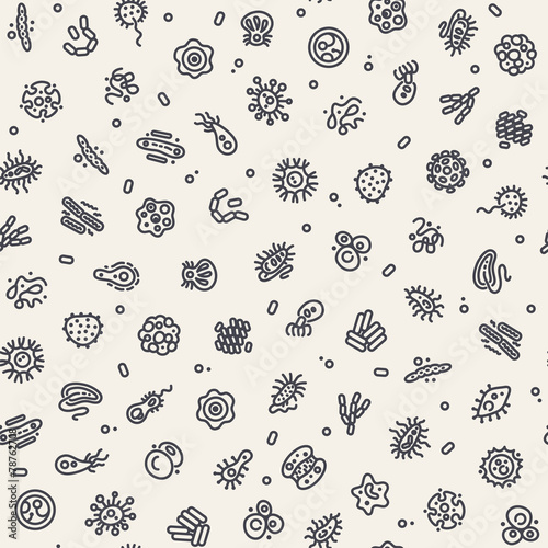 Light Seamless Pattern with Bacteria and Germs - 78762708