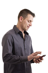 Casual businessman with smart phone