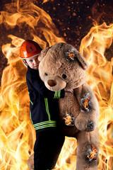 Retter vor den Flammen