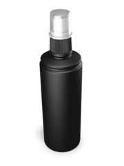 Black plastic bottle with spray on a white