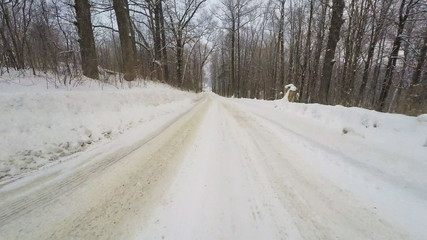 A Point of view drive (POV) in winter conditions
