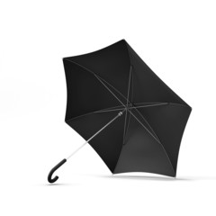 Open black umbrella isolated on a white background