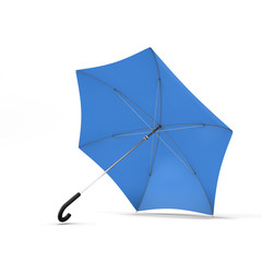 Open blue umbrella isolated on a white background