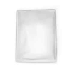 White paper sachet on white background