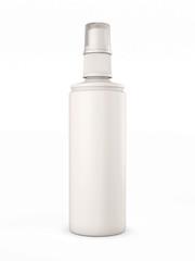 White plastic bottle with spray on white background