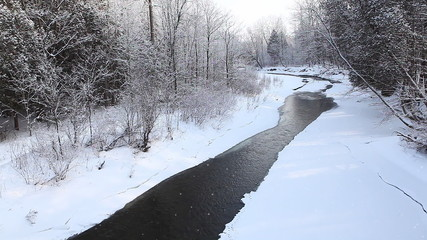 Winter creek with a small amount of open water