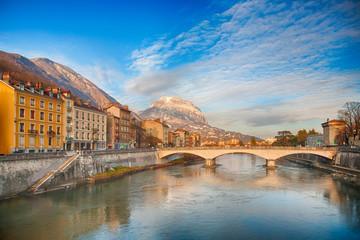 Grenoble am Abend, Frankreich