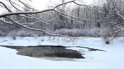 A winter creek with a small amount of open water