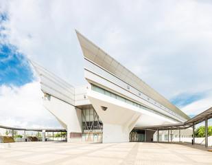 skyline and modern art center exterior