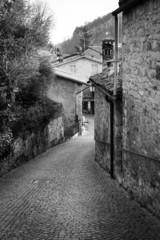 Oltrepo old village detail. Black and white photo