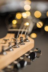 Guitar frets with strings and lights