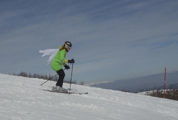 skier flying carnival season