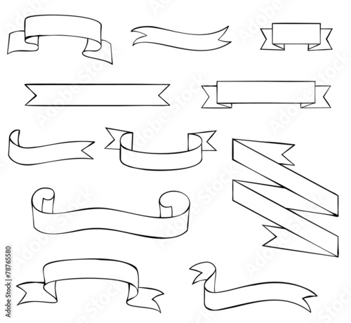 Set of blank outline ribbons