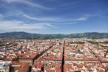 Top view from Campanile Giotto on the center of Florence, Italy