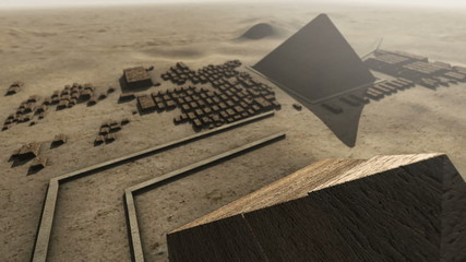 Giza platform Egypt. An animation from above