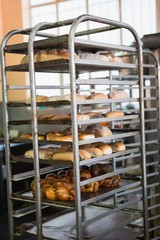 Catering building with shelf of hot breads
