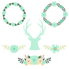 Wedding floral set with silhouette of blue reindeer