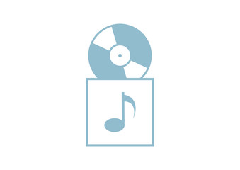 Gramophone record on white background