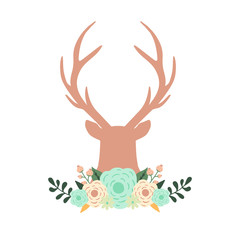 Silhouette of reindeer with flowers