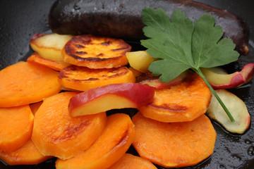 Patate douce et Pommes Rissolées - Boudin noir