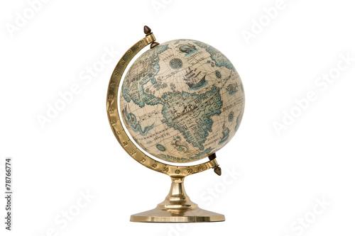 Old Style World Globe - Isolated on White - 78766774