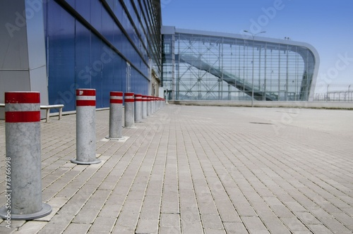 Foto op Canvas Treinstation Glass building and modern architecture with nobody