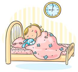 Girl sleepeng in her bed