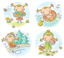 Girl's activities during the four seasons