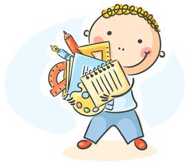 Cartoon schoolboy with lots of school things