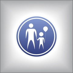Parent and child holding hands together.Illustration in a circle