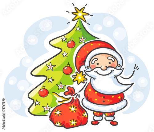 Santa with presents and Christmas tree