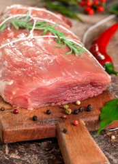 Raw meat on stone plate - steak