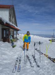 chalet Nordic skis skier in Vasilitsa ski center Greece