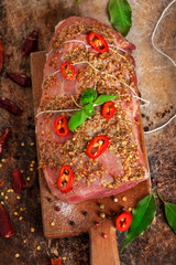 Fresh Raw meat with spices