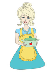 housewife serving soup