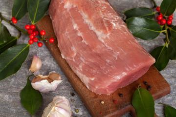 Fresh Raw meat with garlic