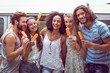Hipster friends enjoying ice lollies - 78768330