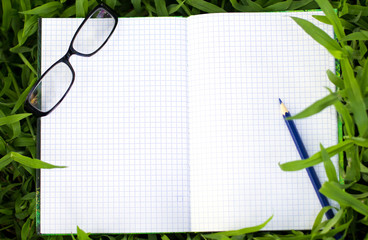 Blank notepad for copy space on green grass.