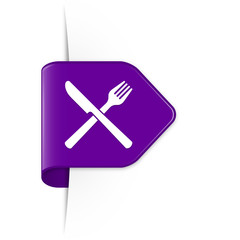Knife and fork - Purple Arrow Sticker with Shadow