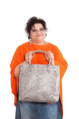 portrait of overweight woman on white background
