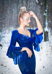 Lovely young lady in elegant blue dress posing in winter scenery