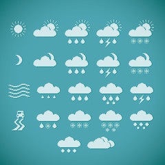 Pixel weather icons on blue vintage background
