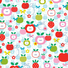 apples and strawberries pattern