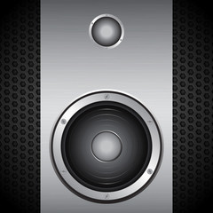 Big speaker on brushed metallic background