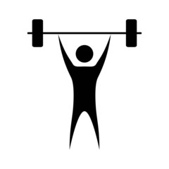 weightlifter black icon isolated on white background